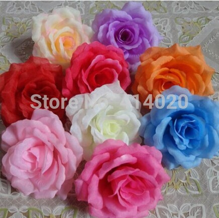 100Pcs /lot 10CM Diameter 15Colors Rose Flower Head Silk Fabric Wedding Decoration Home Decor Centerpiece Artical Flowers