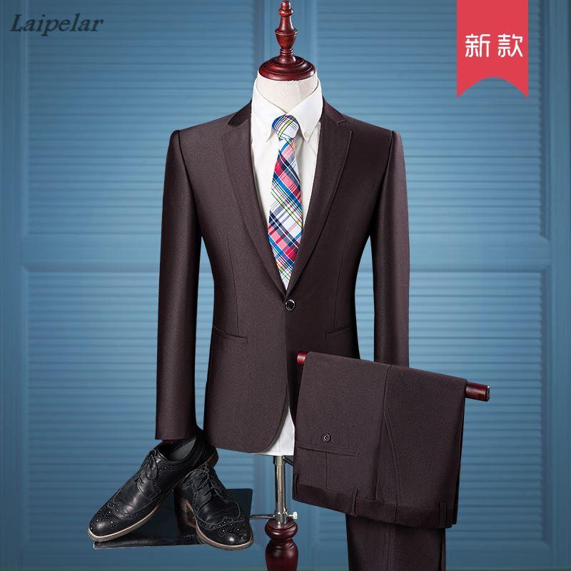 ( Jacket + Pants ) New 2018 Men's Fashion Boutique Pure Color Groom Wedding Dress Suits Male Big Size Casual Business Suits M
