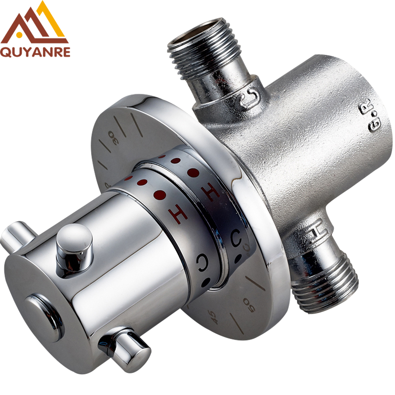 Free Shipping Brass G1 2 Thermostatic Mixer Valve Adjust Water Temperature Thermostatic Solar Water Heater Control