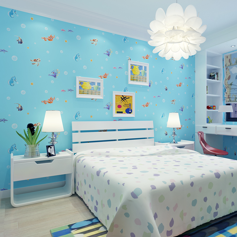 Use Childen S Room Wallpaper To Add Oodles Of Character: Children's Room Wallpaper Modern Blue Sky Pink Printed