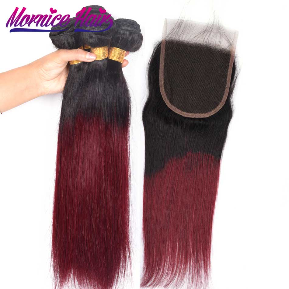Mornice Brazilian Hair Bundles with Closure Pre-colored Human Hair Bundles with Closure 1b 99j Red Ombre Straight Weave Non-rem