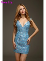 Sexy Blue Short Mini Cocktail Dresses Beaded Crystals Open Back Deep V Neck Sparkly Prom Homecoming