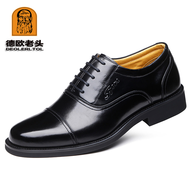 2019 Newly Men's Quality Genuine Leather Shoes Social Size 37-44 Top Head Leather Autumn Office Shoes Soft Man Dress Shoes