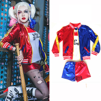 Christmas Harley Quinn Costume Kids Cosplay Suicide Squad Carnaval Anime Purim Jacket Sets New Year Costumes