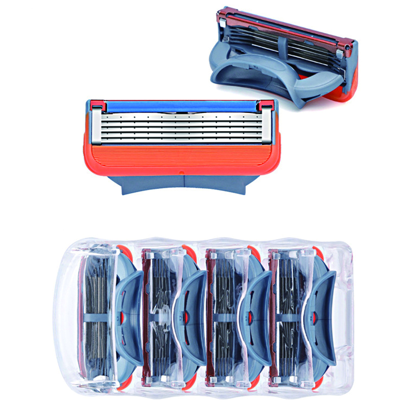 4pcs/lot Razor Blade For Men Face Care Shaving Safety,5 Layer Stainless Steel Shaver Cassette Fit For Gillettee Fusion Handle