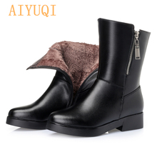 AIYUQI Woman big size military boots  2019 new genuine leather women snow Thick warm wool winter