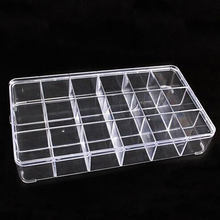 18 Grid 28.7x16.5x4.8cm Clear Transparent Box Plastic Cosmetic Nail-art Pill Box Case,Portable Storage Container Y2699(China)