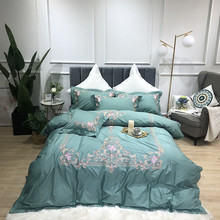 Luxury Royal Embroidery 100S Egyptian Cotton Court Bedding Set Green Purple Blue Pink Duvet Cover Bed sheet Linen Pillowcase