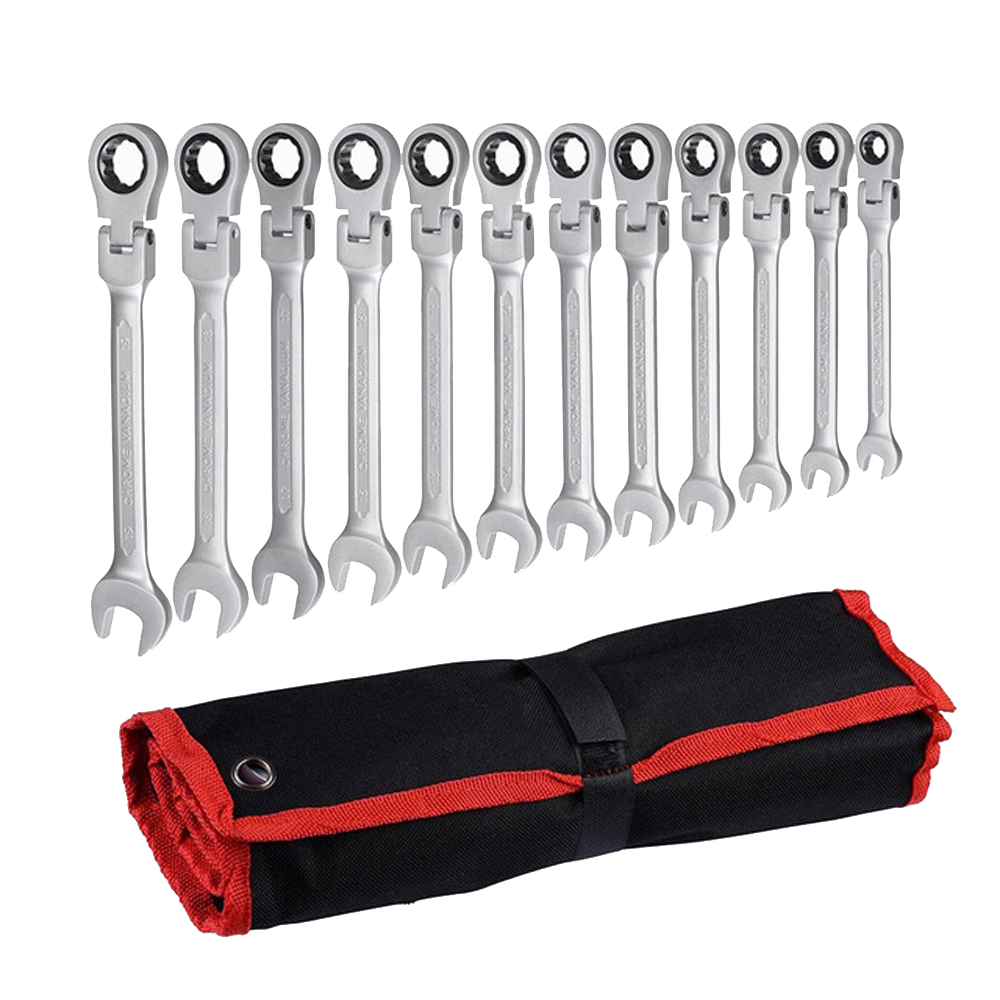 A Set Of Keys For Car Repair Adjustable Combination Gear Nut Wrench With Ratchet Box End
