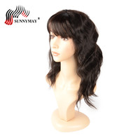 Sunnymay 150%Density Bob Human Hair Wigs Body Wave Brazilian Virgin Hair Lace Front Wigs With Bang For Black Women