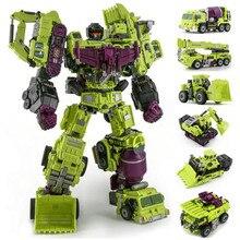 JINBAO NBK Oversize 6 w 1 Devastator transformacja zabawki chłopiec samochód robot KO G1 koparka ciężarówki Model figurka kid zabawka dla dorosłych