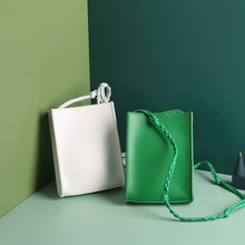 Hot Fashion Shoulder Bags Green Color Weaving Rope Mini Small Square Pocket Famous Brand Design Girls Summer Purses Handbags