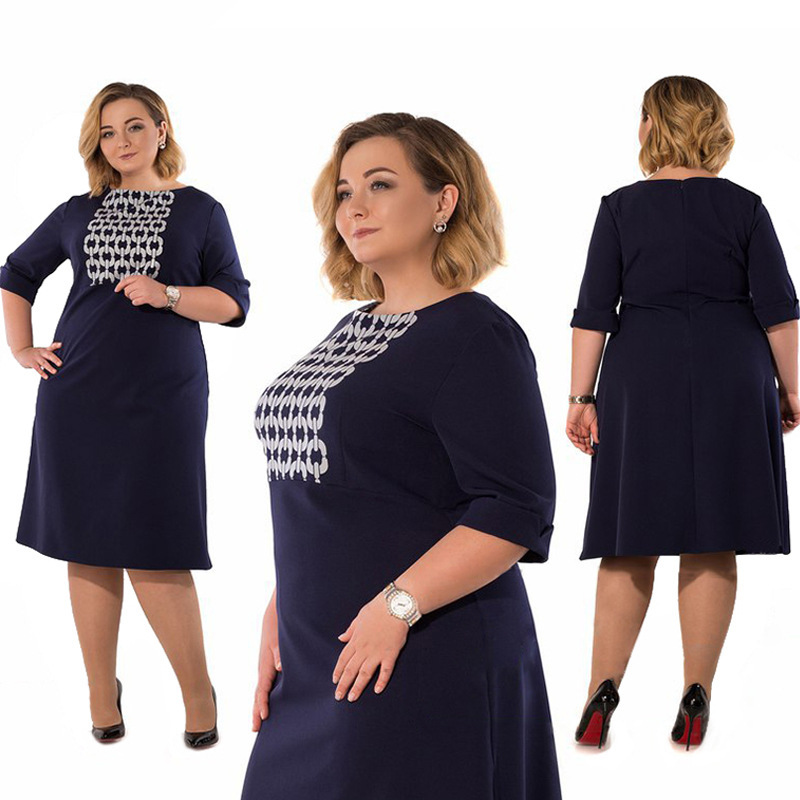 2018 Summer New Fashion Big Size Dress Women Round Neck Loose Dresses  Elegant Lady Jurken Fat MM Plus Size 6xl Clothing Femme-in Dresses from  Women s ... fd51940d5b89