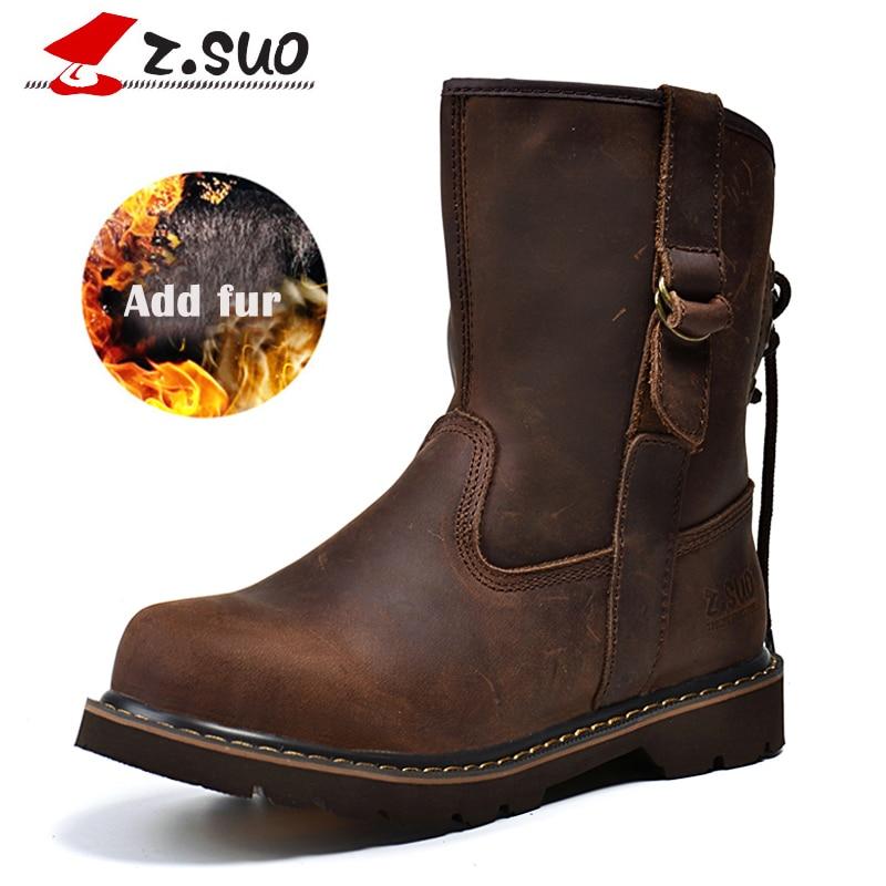 Z. Suo Women Genuine Leather Boots Add Fur Warm Winter Shoes Mid-calf Western Leisure Casual Fashion Flat Mujer Female Footwear недорго, оригинальная цена