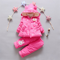 BibiCola 2018 baby girls clothing sets autumn winter 2PCS infant clothes hooded coat+warm trousers newborn toddler clothes suit