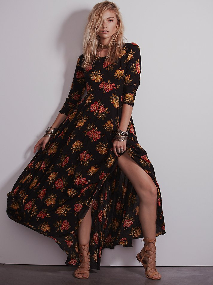 Curiosity Fashion First Kiss Long Sleeve Floral Printed Maxi Dress Plus Size  V Nect Boho Women Dresses-in Dresses from Women s Clothing on  Aliexpress.com ... 32e116f8c