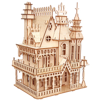 MrY Woodcraft Construction Kit Woodcraft Villa DIY 3D Wooden Villa Puzzle Wooden Puzzle Game Assembly Toy Gift for Children