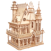 Woodcraft Construction Kit Woodcraft Villa DIY 3D Wooden Villa Puzzle Wooden Puzzle Game Assembly Toy Gift for Children