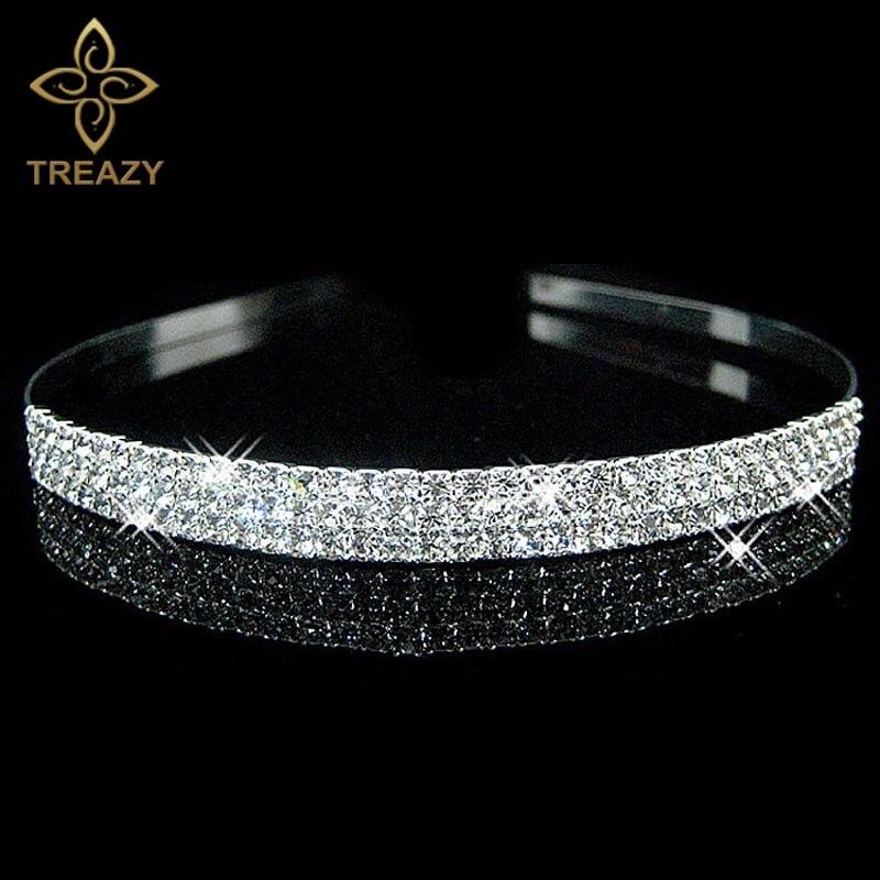 Fashion Jewelry Jewelry & Watches Bridal/ Wedding/ Prom Rhodium Plated Clear Crystal Two Row Wavy Tiara Headband