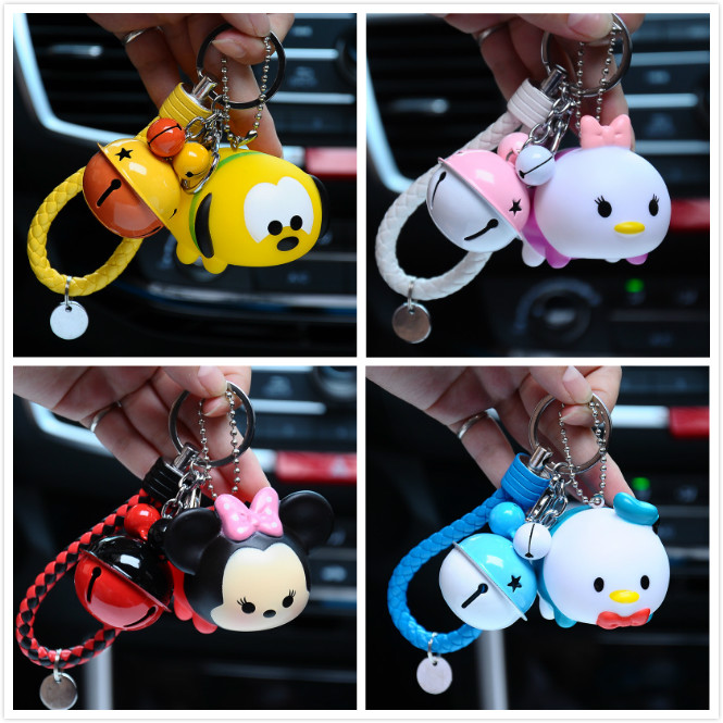 Mickey Piggy Kitty Rabbit Bear Bunny Donald Duck Kiki Keychain Women Leather Rope Toys Kid Key Ring Chains Car Bag Charm D76 image
