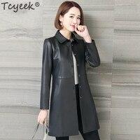 Tcyeek Natural Sheepskin Jacket Women Genuine Leather Trench Coat Female Long Spring Autumn Outwear Plus Size Clothes LWL1484