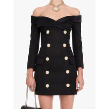 Sexy off shoulder double breasted dress 2018 autumn women buttons D659