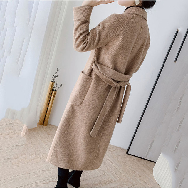 High quality double-faced cashmere coat women's long trench coat 2019 new wool blends outerwear female winter woolen windbreak 4