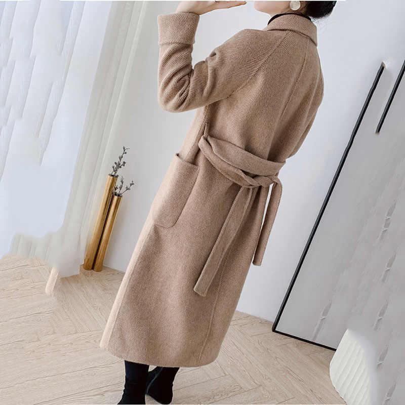 Alta qualidade dupla face casaco de caxemira longo trench coat 2019 novas misturas de lã outerwear feminino inverno lã windbreak