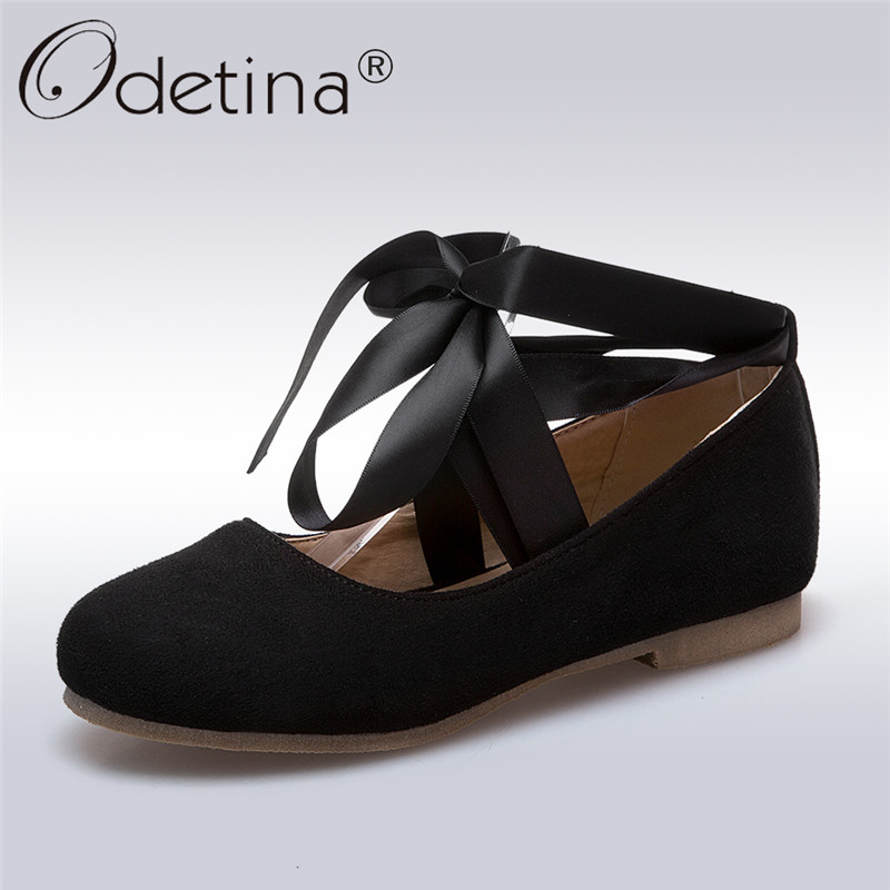 Odetina 2018 New Fashion Spring Flock Ballet Flats For Women Cross Tied Lace Up Casual Shoes Female Solid Flat Shoes Big Size 43 odetina fashion ladies summer shoes ballet flats women flat slip on ballerinas patent leather shallow mouth shoes big size 32 52