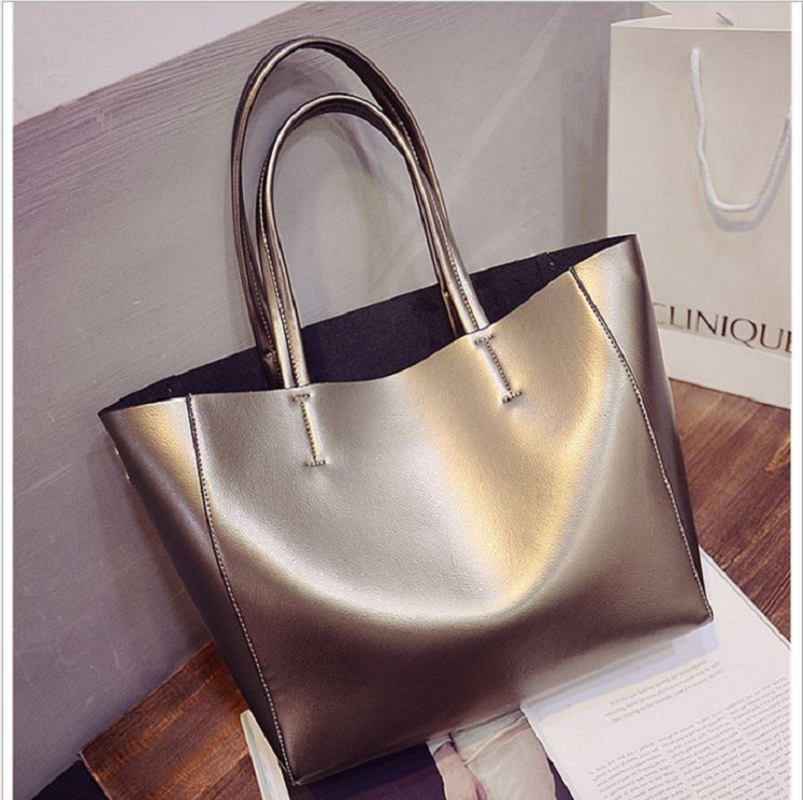 ФОТО Twin bag big size fashion lady tote bag 2017 female popular style silver gold black Large Capacity casual Crossbody Bag
