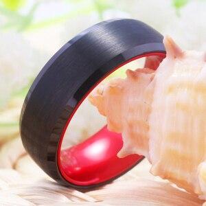 Image 5 - קלאסי חתונה לנשים גברים של טונגסטן טבעת טונגסטן השחור עם אדום אלומיניום אירוסין טבעת משלוח חריטת טבעת