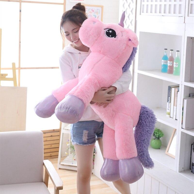 80/110 см Единорог, плюшевая игрушка, гигантский единорог, плюшевое животное, большой размер, лошадь, мягкая плюшевая кукла, рождественский под