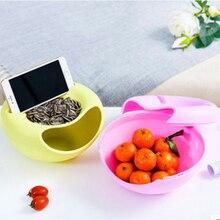 Paresseux en plastique Double couche fruits secs conteneurs collations graines boîte de rangement sac à ordures plat plat organisateur support de téléphone