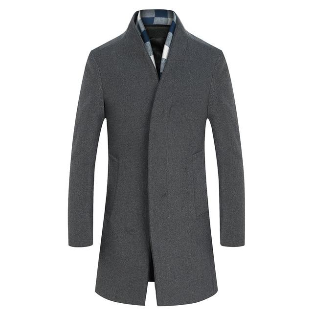 2016 new arrival winter wool gray trench coat Men single Breasted Trench Coat Men Outerwear Casual Coat Men's Jacket Windbreaker