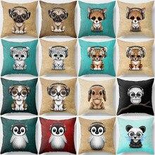 Hot sale beauty cartoon  dog cat animal pillow case men women ladies square cases cute monkey cover 45*45cm