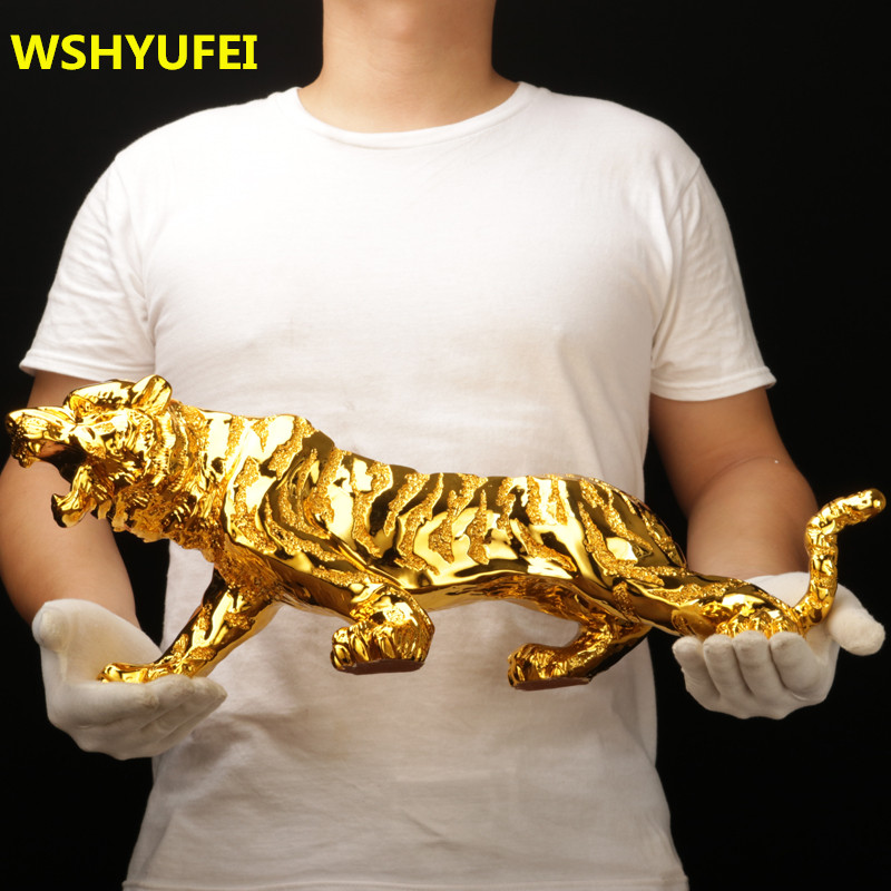 Modern Abstract Gold Panther Sculpture Geometric Resin Tiger Statue Wildlife Decor Gift Craft Ornament Accessories Furnishing