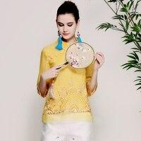 Women Royal Embroidry Organza Shirt Tops Spring Summer 2018 Chinese Style Original Design Elegant Lady Shirt