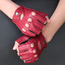 Women Semi-Finger Gloves Spring And Summer Thin Outdoor Fitness Genuine Leather Driving Half Finger Gloves Handmade Sewing  стоимость