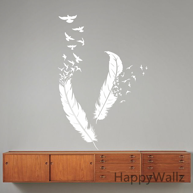 Feather Wall Decal HappyWallz Feathers Sticker Modern Vinyl Art Decorative Decors