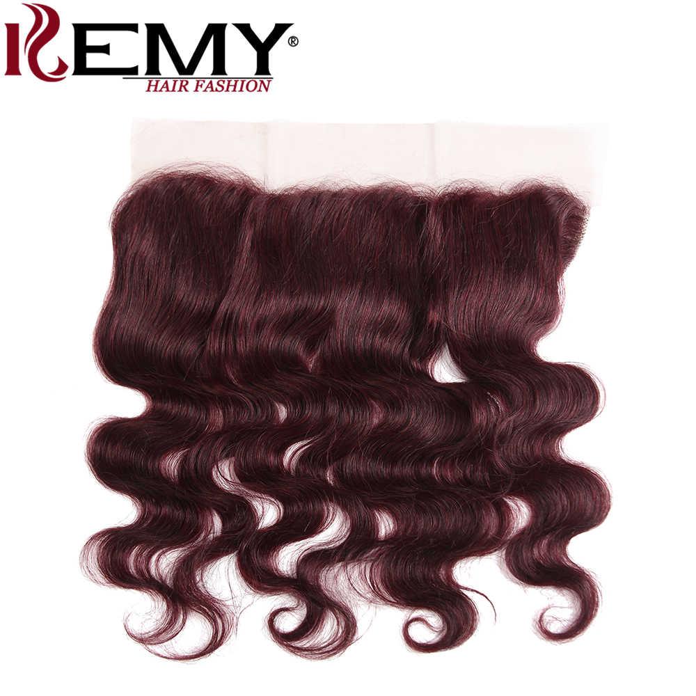 99J/бордовый красный цвет человеческие волосы комплект s с фронтальной 13*4 kemy Hair бразильский средства ухода за кожей волна вол...