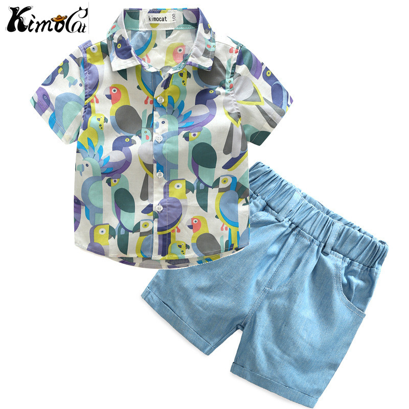 Kimocat Boy's baby spring and autumn set, two sets of American boy's long sleeve cartoon bear, two sets of ins hot style