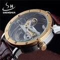 Homens de luxo Da Marca Relógio de Ouro Mecânica Tourbillon Relógios de Diamante de Couro Relógios de Pulso De Esqueleto Relógio Automático Transparente