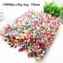 10000pcs/lot 10mm Pompom Multicolor Soft Pom Poms Balls Fur Plush Ball DIY Handcraft Wedding Home Decoration Party Supplies