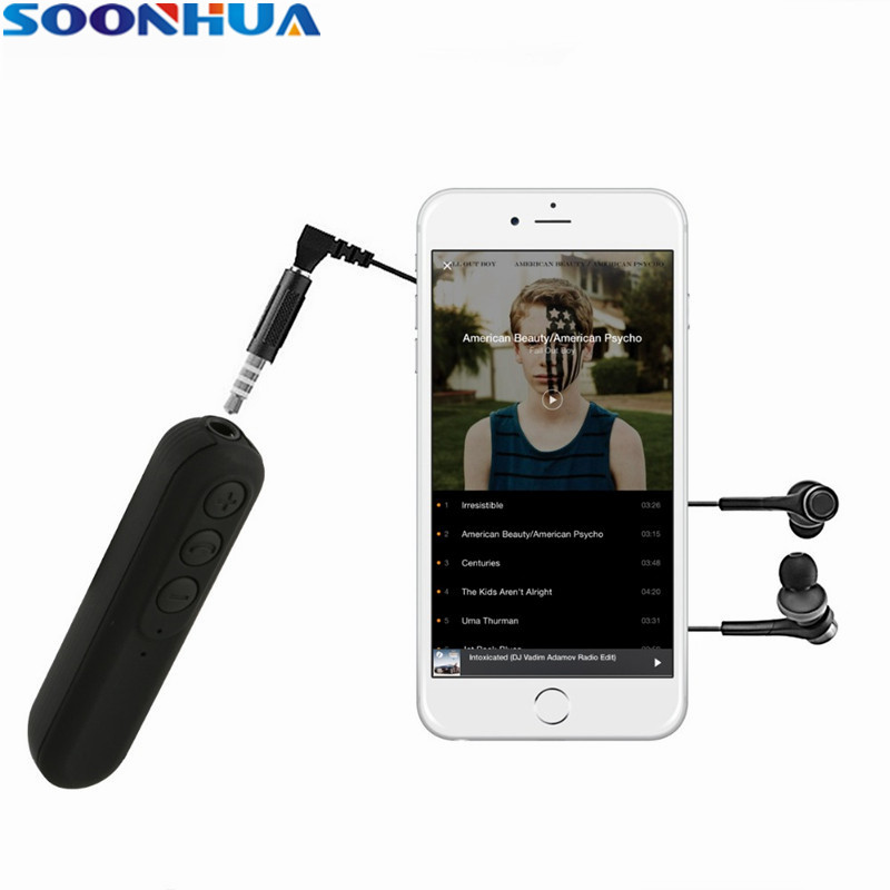 SOONHUA Handfree Car Bluetooth Music Receiver Universal 3.5mm Jack Clip-on Wireless Audio Adapter With Mic For Headphone Speaker