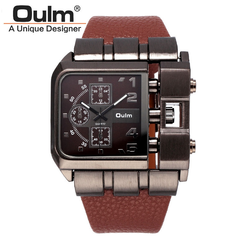 Men s Wrist Watches Luxury Design Oulm Quartz Watch Men Square Dial Leather Strap Male Military