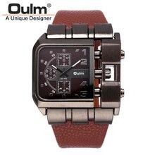 Hommes de Montres De Luxe Conception Oulm Quartz Montre Hommes Cadran Carré Bracelet En Cuir Mâle Militaire Antique Horloge erkek saat