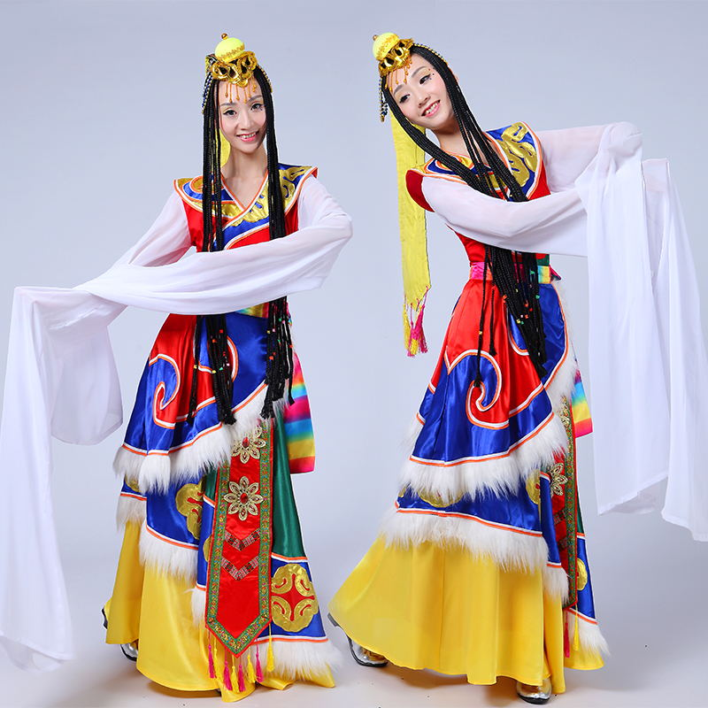 New Tibetan Dance Costume Female Sleeve Tibetan Adult Ethnic Stage Performance Costume Dress