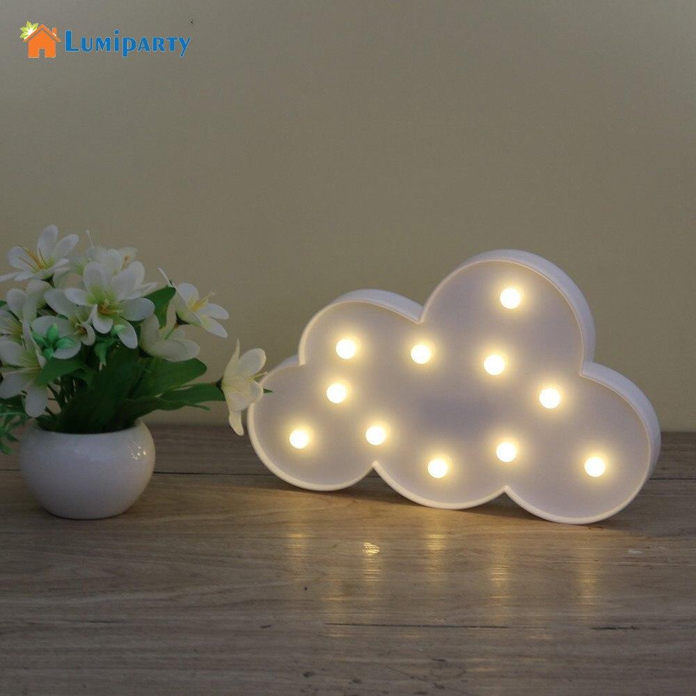 11 LED белое облако письмо свет для Рождество украшения детский подарок свет 3D ночь свет лампы Батарея работает ...