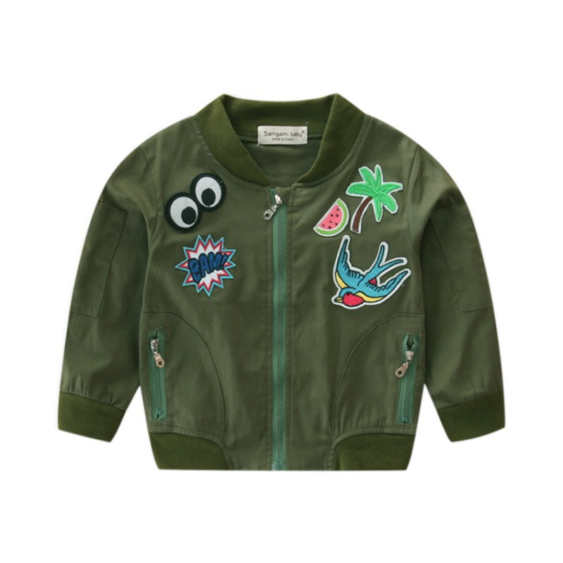 US $8 01 24% OFF|Boys Girls Patch Bomber Jackets Lightweight Running Coats  Flight Suit Casual Print Jacket Embroidered Patches Jacket Coats-in Jackets