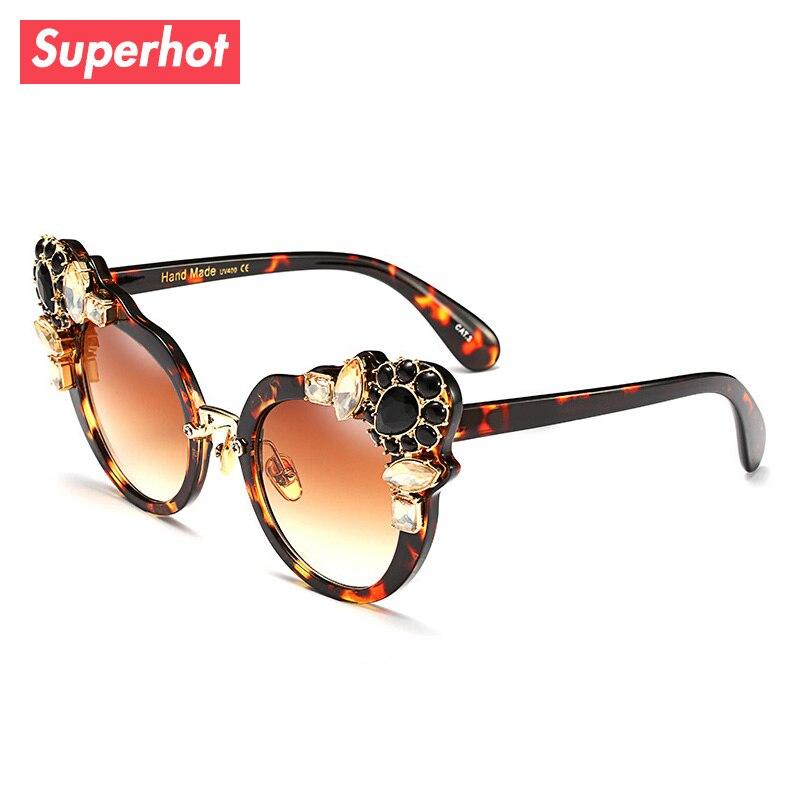 Superhot Eyewear Fashion Wanita Sunglasses Cat Eye Gem Dekorasi Sun kacamata  Merek Desainer UV400 Shades 97377 bc7ea0bb52